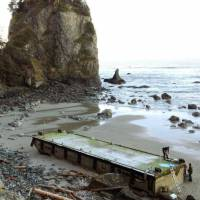 Tsunami dock to be hauled off U.S. beach
