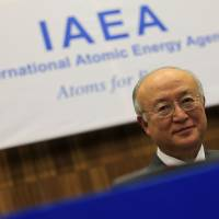 Shoo-in: International Atomic Energy Agency Director General Yukiya Amano attends the IAEA Board of Governors meeting at the group's headquarters in Vienna on Wednesday. | AFP-JIJI