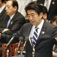 In charge: Prime Minister Shinzo Abe the Lower House Budget Committee session Thursday. | KYODO