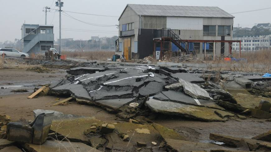 Road to nowhere: Damaged roads remain untouched in Ishinomaki, Miyagi Prefecture, in February.