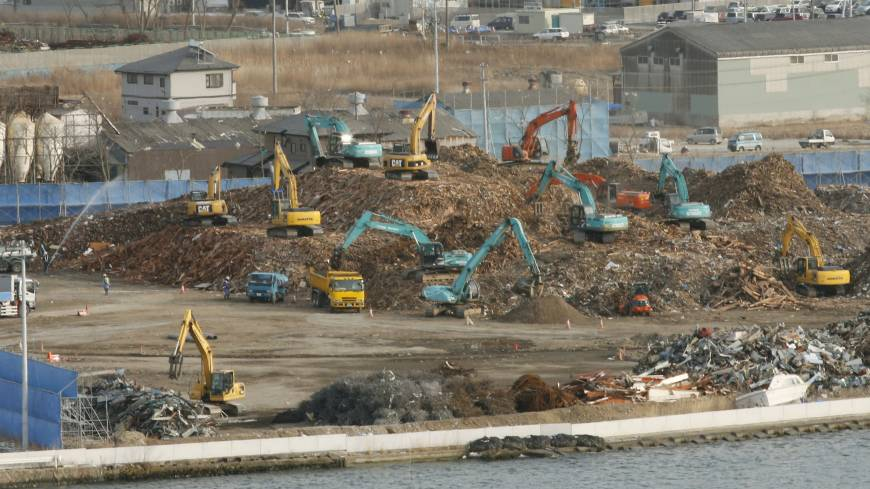 No place to go: Debris from the Great East Japan Earthquake and tsunami is processed at a temporary storage facility in Ishinomaki, Miyagi Prefecture, in February.