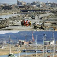 After and before: A coastal district of Minamisanriku in Miyagi Prefecture is seen March 2, ahead of the second anniversary of the Great East Japan Earthquake, and on March 13, 2011, two days after the area was leveled by massive tsunami spawned by the 9.0-magnitude temblor. | KYODO