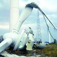 Renewable threat: A windmill lies wrecked in the town of Ine, Kyoto Prefecture, on  Wednesday. | KYOTO PREFECTURE/AFP-JIJI