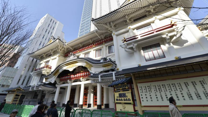 Show goes on: The Kabuki-za theater is shown after its fourth makeover, including attached office tower, on Feb. 28.
