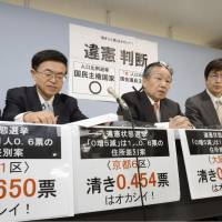 Value voters: Attorneys, including Hidetoshi Masunaga, head of one of two group of lawyers challenging the constitutionality of vote values in the Lower House election last December, hold a news conference Tuesday in Osaka. | KYODO