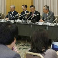 Clearing the path: Executives of the Japan Society of Obstetrics and Gynecology, Japanese Association of Medical Sciences and Japan Society of Human Genetics hold a joint news conference March 9 in Chiyoda Ward, Tokyo, to announce guidelines for a new prenatal test.  | KYODO