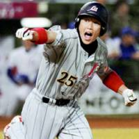 Takahiro Arai was one of the leaders at the plate for Japan at the Asian Championship in Taiwan last month. Japan won the tournament to earn a berth in the 2008 Olympics. | KYODO PHOTO