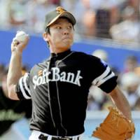 Hawks rookie sensation Shota Oba fires a pitch against the Chiba Lotte Marines on Saturday. Fukuoka Softbank won 3-0. | KYODO PHOTO