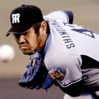 Hot start: Veteran Hanshin hurler Tsuyoshi Shimoyanagi is 5-0 with a 1.88 ERA in seven starts this season. | AP PHOTO