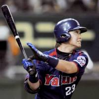 Stellar slugger: Swallows star Norichika Aoki leads his team in batting, home runs and RBIs this season despite missing three weeks due to an injury. | KYODO PHOTO