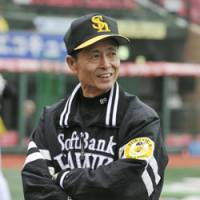 Happy skipper: Hawks manager Sadaharu Oh smiles before Tuesday's game, Softbank's final contest of 2008, at Kleenex Stadium in Sendai. The baseball legend will not return as the team's manager next season. | KYODO PHOTO
