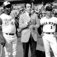 Back in the day: Sadaharu Oh, Hank Aaron and CBS-TV announcer Brent Musburger are seen at an exhibition home run contest held by the two prodigious sluggers on Nov. 2, 1974, at Tokyo's Korakuen Stadium. Aaron won 10-9. | USED WITH PERMISSION FROM STARS AND STRIPES (C) STARS AND STRIPES