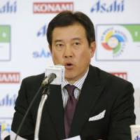 Japan manager Tatsunori Hara announces the primary candidates to play for Japan in the 2009 World Baseball Classic at a press conference in Tokyo on Monday. | KYODO PHOTO