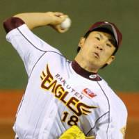 Impressive form: Eagles right-hander Masahiro Tanaka improves to 3-0 and helps his team move back into first place by beating the Chiba Lotte Marines 2-0 on Wednesday at Kleenex Stadium. Tanaka tossed a three-hit shutout. | KYODO PHOTO