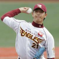 Mission completed: Rakuten Eagles starter Hisashi Iwakuma marks his first complete game of the season against the Softbank Hawks on Saturday at Kleenex Stadium. The Eagles won 2-1. | KYODO PHOTO