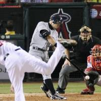 Another hit: Seattle Mariners star Ichiro Suzuki slaps a single to right field in the third inning against the Los Angeles Angels on Wednesday. | KYODO PHOTO