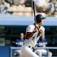 Strong production: Marines slugger Tsuyoshi Nishioka bashes a leadoff homer in the first inning and adds a two-run double in Chiba Lotte's 6-2 win over the visiting Orix Buffaloes on Saturday. | KYODO PHOTO