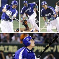 Batting practice: (top, from left to right) Dragons players Mashiko Morino, Tony Blanco and Kazuhiro Wada get base hits against Giants pitching while Kei Nomoto (above) hits a three-run home run in Tokyo Dome on Wednesday. | KYODO PHOTO