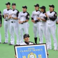 Proud skipper: Fighters manager Masataka Nashida guides the Pacific League club to its third Japan Series appearance in four seasons. | KYODO PHOTO
