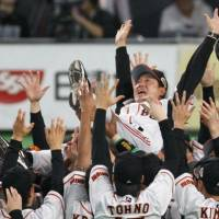 The Yomiuri Giants toss manager Tatsunori Hara in the air after winning the Japan Series on Saturday night in Sapporo. The Giants beat the Hokkaido Nippon Ham Fighters 2-0 to win the series 4-2 overall, giving the club its first championship since 2002. | KYODO PHOTO