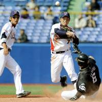 Onward and upward: Hiroyasu Tanaka (7) and the Tokyo Yakult Swallows will be hoping to use last season's playoff appearance as a springboard for further improvement. | KYODO PHOTO