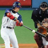 Go-to guy: Orix's Mitsutaka Goto hits a game-tying solo home run in the ninth inning against Tohoku Rakuten on Sunday. The Buffaloes won 5-4. | KYODO PHOTO