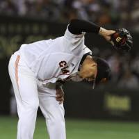 Frustrated: Giants hurler Dicky Gonzalez falls to 5-12 after giving up four runs on five hits in six innings on Thursday against the BayStars. Yokohama beat Yomiuri 5-2. | KYODO PHOTO