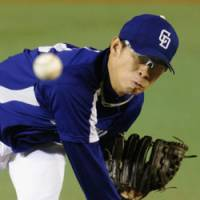 Bad day at the office: Dragons hurler Daisuke Yamai didn't have his best stuff on Tuesday, allowing five runs on eight hits in 3 2/3 innings. | KYODO PHOTO