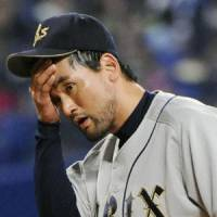 No spring in his step: Park Chan Ho was knocked around on Saturday. | KYODO PHOTO