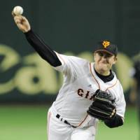 In limbo: Brian Bannister is prohibited from playing in Japan or the majors after leaving the Yomiuri Giants to return to the United States after last month's earthquake. | KYODO PHOTO