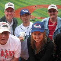 Road Warriors: Front row (from left): Leon  DeHaven, Nicky Oliver and interpreter Mayumi Smith. Back row (from  left): Group and tour leader Bob Bavasi, Todd Akiyama and Mike Colegate. | WAYNE GRACZYK PHOTO