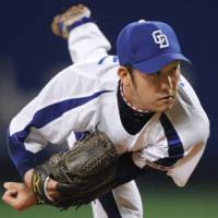 Giant killer: Chunichi's Yudai Kawai throws a pitch against the Giants on Sunday. The Dragons won 6-0. | KYODO
