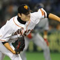 Rare home win: Giants left-hander Norihito Kaneto earns his first victory at Tokyo Dome since 2008 on Thursday as Yomiuri defeated the Yokohama BayStars 2-1. | KYODO PHOTO