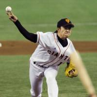 Too close for comfort: Giants starter Shun Tono fires a pitch in Wednesday's interleague game against the Chiba Lotte Marines at Tokyo Dome. The visitors topped Yomiuri 3-2. | KYODO