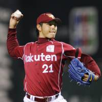 Back in action: Eagles pitcher Hisashi Iwakuma throws a pitch against the Hawks on Wednesday in Fukuoka. Tohoku Rakuten won 3-1. | KYODO