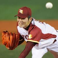 Heavy lifting: Takahiro Shiomi pitched the Eagles past the Hawks twice over a span of six days. | KYODO