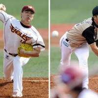 Treat for the fans: Eagles pitcher Masahiro Tanaka and Fighters right-hander Yuki Saito square off in Saturday's game in Sendai. Tanaka picked up his 15th win of the season in Tohoku Rakuten's 4-1 victory. | KYODO PHOTO