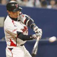 Steady play: Swallows third baseman Shinya Miyamoto is batting .291 through Thursday and helping Tokyo Yakult contend for a Central League title. | KYODO PHOTO