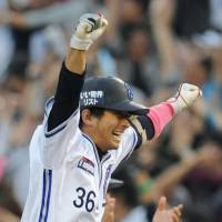 No rookie jitters: Giants pitcher Hirokazu Sawamura celebrates an out during Yomiuri's game against the Dragons on Saturday in Nagoya. Sawamura threw a one-hitter in a 4-0 victory. | KYODO PHOTO