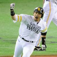 Celebration time: Nobuhiro Matsuda and the Fukuoka Softbank Hawks defeated the Seibu Lions 7-2 in Game 2 of the Pacific League Climax Series final stage on Friday at Yahoo Dome. | KYODO