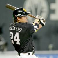 Lean on me: Fukuoka Softbank's Seiichi Uchikawa led NPB with a batting average of .338 this season. | KYODO PHOTOS