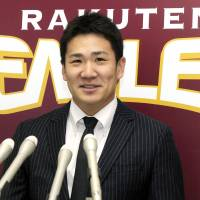 Same again: Pitcher Masahiro Tanaka has re-signed with the Tohoku Rakuten Golden Eagles with a substantial pay rise. | KYODO PHOTO
