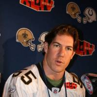 Story behind the name: Saints linebacker Scott Fujita talks to the media on Thursday in Miami. | KAZ NAGATSUKA PHOTO