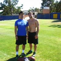 Chance encounter: Tomotsuna Inoue had the opportunity to train with Tim Tebow earlier this year. | TOMOTSUNA INOUE