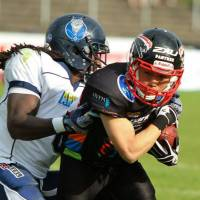 Living the dream: Soichiro Tsukuda (right) enjoys playing football in Germany. | DUSSELDORF PANTHER