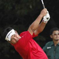 Let 'er rip: Ryuichi Oda hits a shot en route to winning the Japan Open on Sunday. | KYODO PHOTO