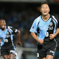 Celebration: Kawasaki Frontale forward Chong Tese celebrates his goal in the 15th minute of the Nabisco Cup semifinal match against Yokohama F. Marinos on Wednesday at Todoroki Stadium. Frontale won 2-0. | KYODO PHOTO