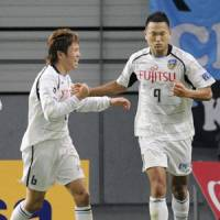 Cloud nine: Chong Tese's late goal gave Kawasaki Frontale a 3-2 win over Nagoya Grampus last weekend. | KYODO PHOTO