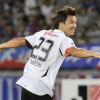 Party time: Shinji Okazaki celebrates scoring a goal for Shimizu S-Pulse during their Nabisco Cup match against FC Tokyo on Wednesday. | KYODO PHOTO