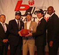 New beginning: (From left) Kyoto Hannaryz general manager Junya Goto, No. 2 draft pick Taizo Kawabe, No. 1 pick Kyosuke Setoyama, supplemental draft pick Jun Takaku and head coach David Benoit will try to build a winner in Kyoto as the team begins its inaugural season in October. | ED ODEVEN PHOTO